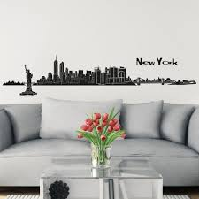 Shop New York Skyline Wall Sticker Wall Decal 48 8 X 7 9 Inch In Black Wall Vinyl Overstock 18216386