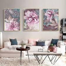 Modern Pink Abstract Floral Wall Art Pictures Fine Art Canvas Prints Nordicwallart Com