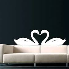Swan Wall Decal Two Swans Love Heart Bird Exotic Animal Decals Wall Vinyl Sticker Home Interior Wall Decor Mural Design Graphic Bedroom Wall Decal Nursery Kids Baby Decor Children S Room Decals Bathroom