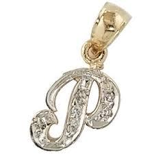 14k gold initial letter p pendant charm