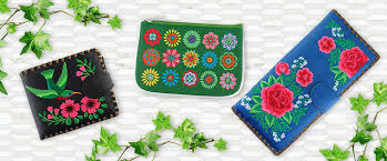 embroidered vegan bags wallets
