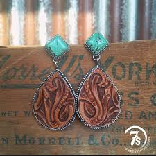tooled leather and tuquoise earrings
