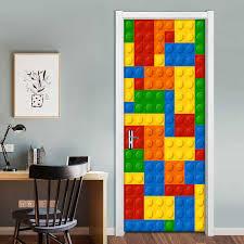 3d Wall Mural Wallpaper Kids Room Lego Bricks Children Room Bedroom Decoration Self Adhesive Door Sticker Pvc Mural Waterproof 3d Wall Murals 3d Wall Murals Wallpapermural Wallpaper Aliexpress