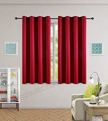 Kotile Home Fashion Window Privacy Assured Eyelet Red Short Curtains Blackout Window Curtains For Girls Room Kids Curtain With 2 Tiebacks 2 Panels 52 Width 63 Drop Red Kitchen Dining B075fcprnd