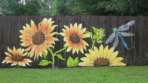 Sunflowers You Can See More Of My Work Lori Gomez Art On Fb Gardening And Living Garden Fence Art Fence Art Garden Mural