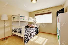 Sunny Beige Kids Room With A Bunk Bed With Built In Ladder And Stock Photo Picture And Royalty Free Image Image 94207691