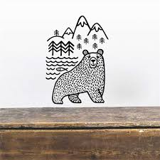 Wild Animal Bear Wall Decal Woodland Mountains Mama Bear Vinyl Wall Stickers Baby Nursery Home Decor Home Decor Vinyl Wall Stickerswall Stickers Baby Nursery Aliexpress