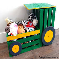 Diy Tractor Wooden Crate Toy Box Fun Kids Room Decor Mindy