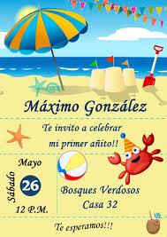 Tarjeta Invitacion Playa Digital Cumpleanos 150 00 En Mercado