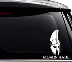 Amazon Com Molon Labe Spartan Greek Decal Sticker For Use On Laptop Helmet Car Truck Motorcycle Windows Bumper Wall And Decor Size 15 Inch 38 Cm Tall Color Gloss White Arts