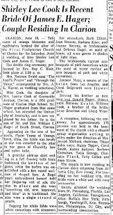 James E Hager & Shirley Lee Cook Wedding - Newspapers.com