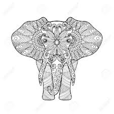 Elephant Adult Antistress Coloring Page Black White Hand Drawn