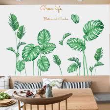 Diy Beach Tropical Palm Leaves Wall Stickers Modern Art Vinyl Decal Wall Mural Home Decor Jungle Forest Theme Wallpaper Sticker Aliexpress