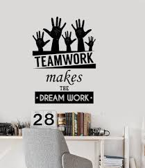 Amazon Com N Sunforest Office Inspirational Words Wall Decal Teamwork Makes The Dream Work Motivational Quotes Home Or Office Decor Home Kitchen
