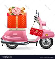 scooter with gift royalty free vector image