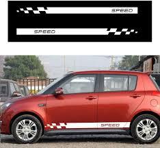 Amazon Com Autotoper Car Side Door Skirt Strip Sticker Decals For Suzuki Swift White Vinyl Car Decal Accessories Styling 1 Pair L R Automotive