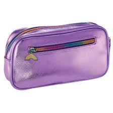 purple metallic small cosmetic bag