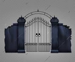 Old Dark Gothic Cemetery Gate Transparent Vector Illustration 51002 Macrovector
