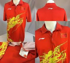 polo shirt xl red poly gold dragon ygi