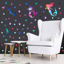 Amazon Com 130 Mermaid Wall Decal Mermaids Starfish Bubble Stickers For Girls Room Bedroom Bathroom Decoration Ocean Underwater Under The Sea Baby Shower Birthday Party Supplies Kitchen Dining