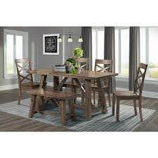 Picket House Furnishings Regan 6 Piece Dining Table Set With 4 Side Chairs And Bench Drn1006ds The Home Depot