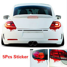 1 2 5pcs Red Blood Car Stickers Reflective Car Decals Light Bumper Body Sticker Decal Wish