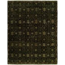 hand knotted wool black area rug