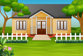 Cartoon House With Green Yard And Wooden Fence Wooden Fence Cartoon House Fence