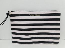 secret pink black striped makeup bag