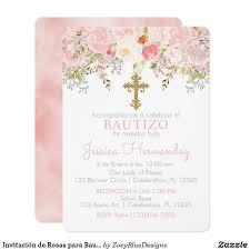 Invitacion De Rosas Para Bautizo De Nina Invitation Zazzle Com