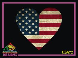 Aged American Flag Heart Printed Vinyl Decal