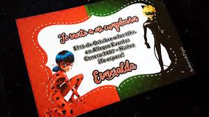 Tarjetas Invitaciones Cumpleanos Ladybug Miraculous 22 00 En