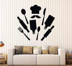 Vinyl Wall Decal Chef Kitchen Restaurant Decor Cook Stickers Unique Gi Wallstickers4you