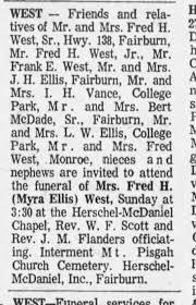 Myra Ellis West funeral - Newspapers.com