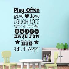 Playroom Rules Wall Decal Be Happy Dream Big Vinyl Art Stickers Wallpaper Childrens Room Decoration Decals Share Laugh Play Z661 Wall Stickers Aliexpress
