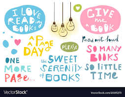 quotes hand lettering books and reading royalty vector
