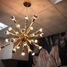 sputnik light fixture installed in a
