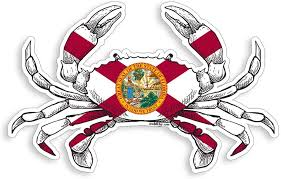 Amazon Com Florida State Flag Crab Sticker Fl Fishing Decal Vinyl Die Cut Car Truck Boat Bumper Window Graphic Everything Else