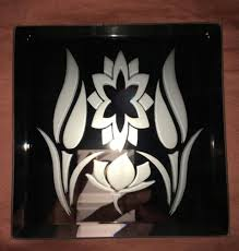 flowers logo mirror glass etching aftcra