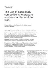 PDF) The Use of Case Study Competitions to Prepare Students for the World  of Work