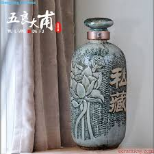 hand painted bottle 10 jins of blue and