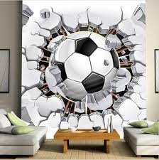 3d Large Soccer Ball Design Wallpaper For Walls Wall Mural Kids Room Wallpaper Soccer Room Football Bedroom