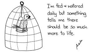 saya menulis dan quote mau terus hidup seperti burung dalam sangkar