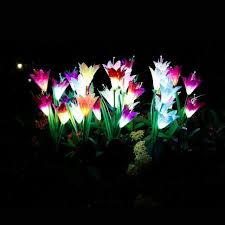 solar garden stake lights lily flowers