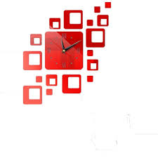 Circles Acrylic Mirror Style Wall Clock Removable Decal Art Sticker Decor Red Walmart Com Walmart Com