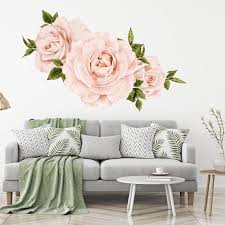 Floral Wallpaper Decals Blush Pink Roses Wall Decals Set Of 3 Etsy