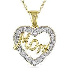 diamond heart shaped mom pendant
