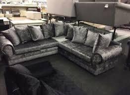 corner group crushed velvet sofas