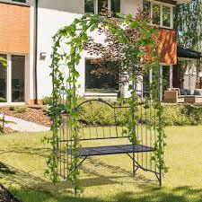 garden arch bench outdoor patio trellis