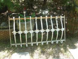 Clearance Sale Antique Ornate Iron Gate With Flower Centers Window Guard Garden Fence White Old Paint Rusty Patina Flower Center Iron Gate Ornate